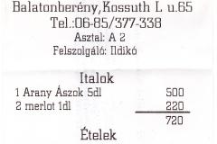 Bb. étterem számla